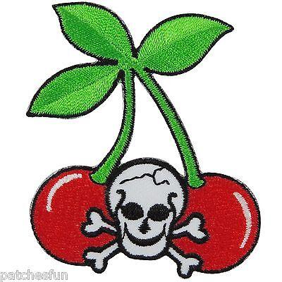 Skull Crossbones Cherry Cherries Punk Rock Biker Motorcycle Iron on Patch #1300