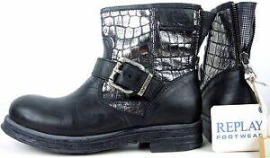 REPLAY-RIENA-Biker-Boots-Damen-Stiefelette-Stiefel-Leder-Schwarz-Silber-Gr37-NEU