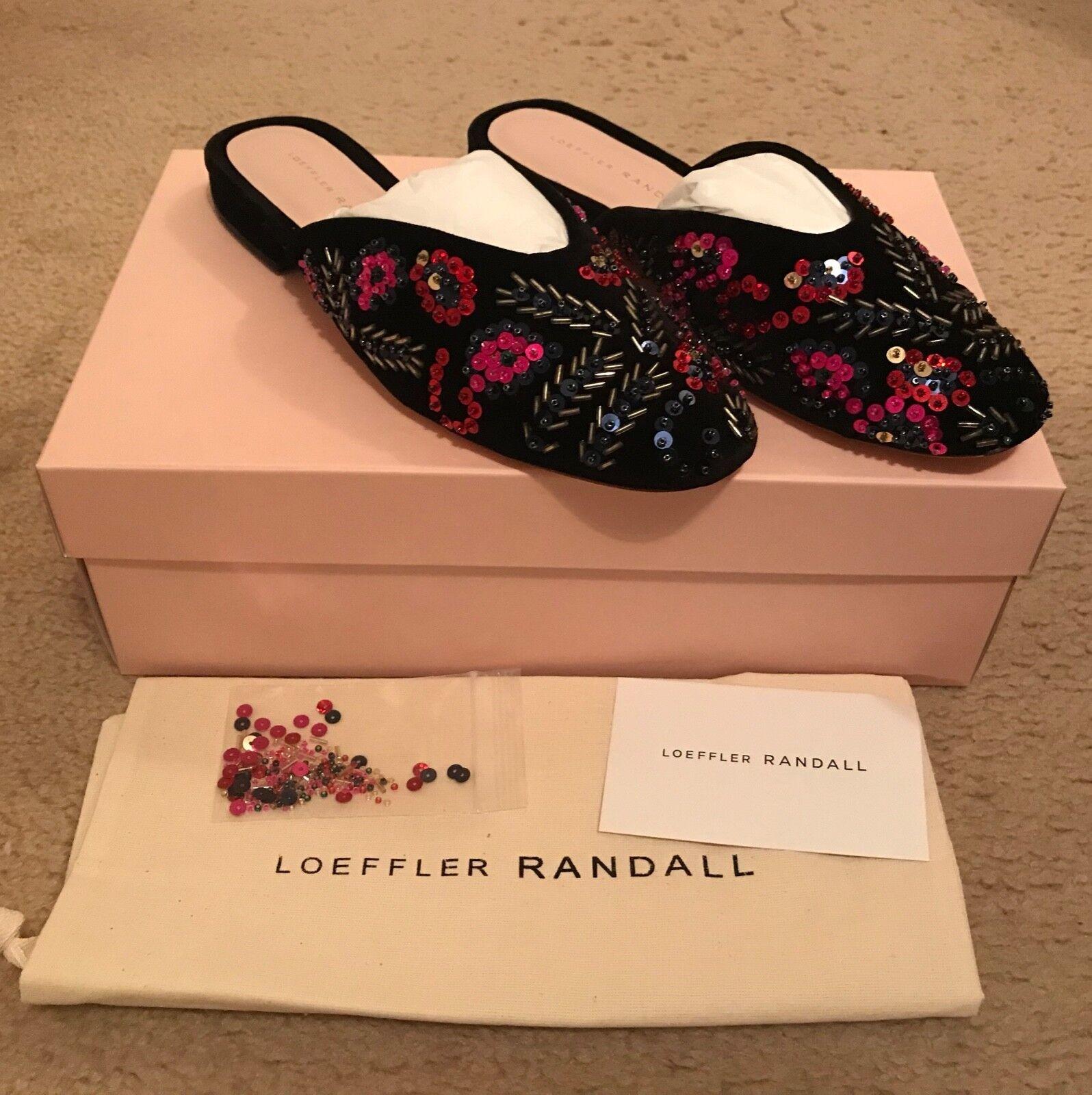 Loeffler Randall Randall Randall Quin con cuentas lentejuelas gamuza mula planas tamaño 6B Negro Multi  395  promociones