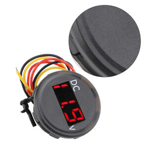 Car-Motorbike-0-100V-Voltage-Meter-Red-LED-Digital-Display-Voltmeter-Gauge-Unit