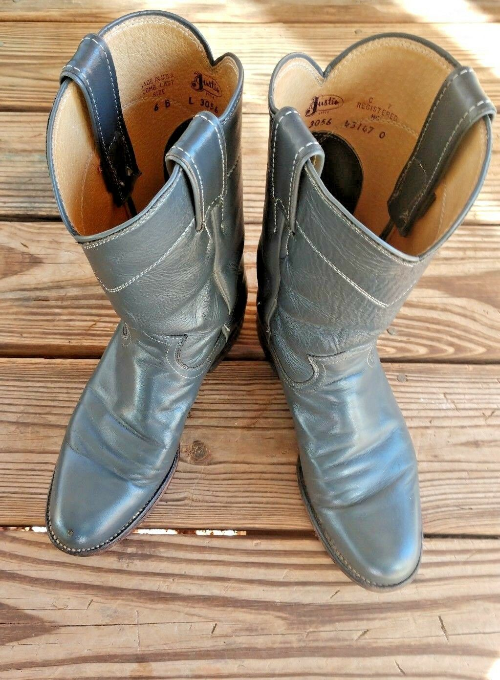 Justin Size 6 B Roper Womens Cowboy Boots L3056 Dark Gray Leather USA MADE