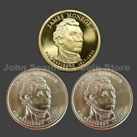 Trio of 2008 Monroe Presidential Dollars P&D BU and S-Mint Proof (3 Coins)