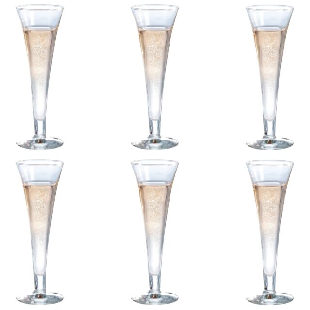 d1010baada9 6x Champagne Glasses Modern Glass Flutes Prosecco Sparkling Wine Stemless  160ml