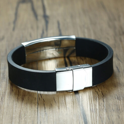 16 mm Bracelet Pour Hommes Bracelet En Acier Inoxydable Silicone Band Bijoux 8.5 in environ 21.59 cm