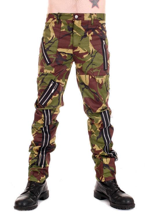 Tiger of London Zip Bondage Camouflage Cotton Pants. Punk
