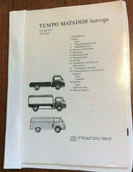instruktionsmappe, Hanomag Tempo Matador 1969
