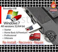 Windows 7 All Versions 32-64bit Reinstall Recovery Usb Flash Drive & Dvd W/hd