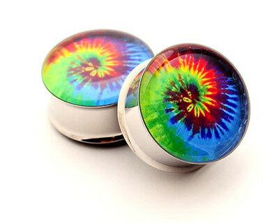 Pair of Tie Dye Picture Plugs STYLE 1 gauges Choose Size new