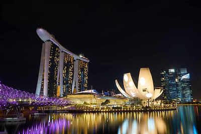 SINGAPORE SKYLINE CITYSCAPE POSTER PRINT STYLE G 24x36 HI RES 9 MIL PAPER
