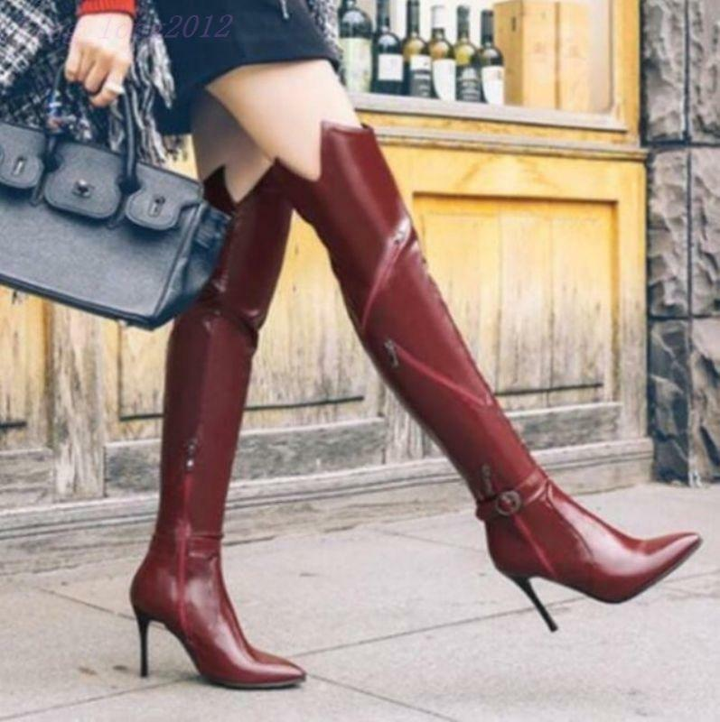 Ladies Pointed Toe Leather Winter Over Knee High Boots Slim Heels Court shoes