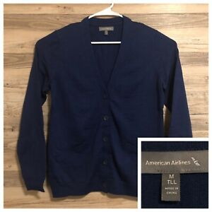 American-Airlines-Twin-Hill-Cardigan-Sweater-Button-Up-Mens-Medium-Wool-Blend
