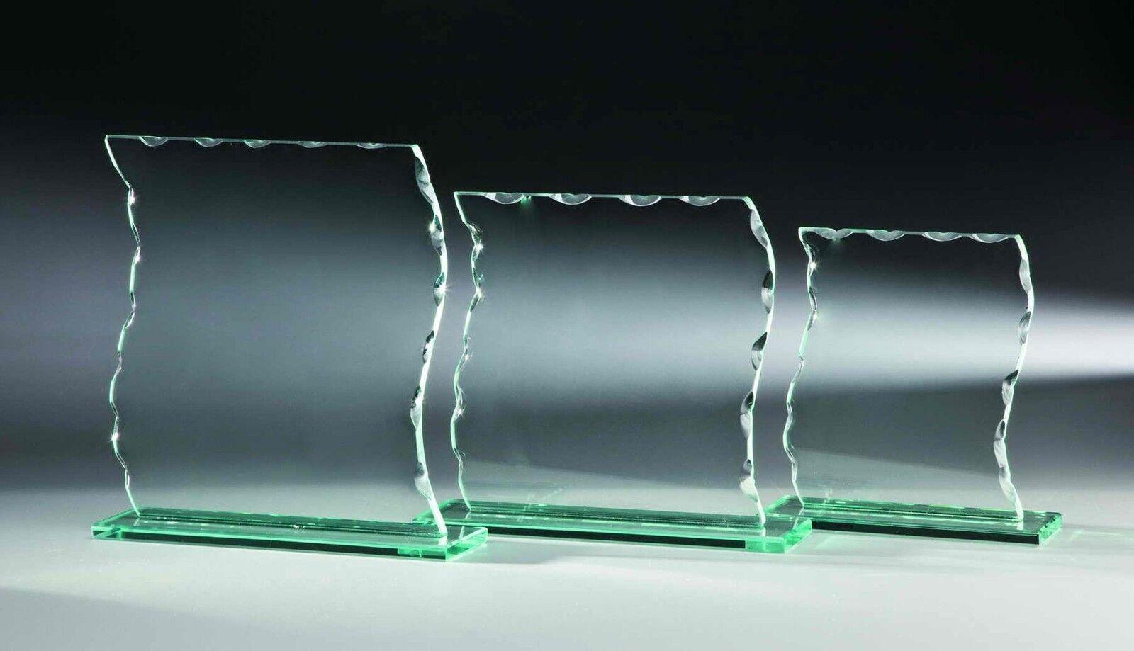 10 Glas-Trophäen Wellenschliff 21x19cm  15 (Glaspokale Pokal Pokal Pokal Gravur Pokale) a4612f