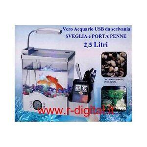 aquarium mini usb filter bio schreibtisch tisch led lampe uhr b ro ebay. Black Bedroom Furniture Sets. Home Design Ideas