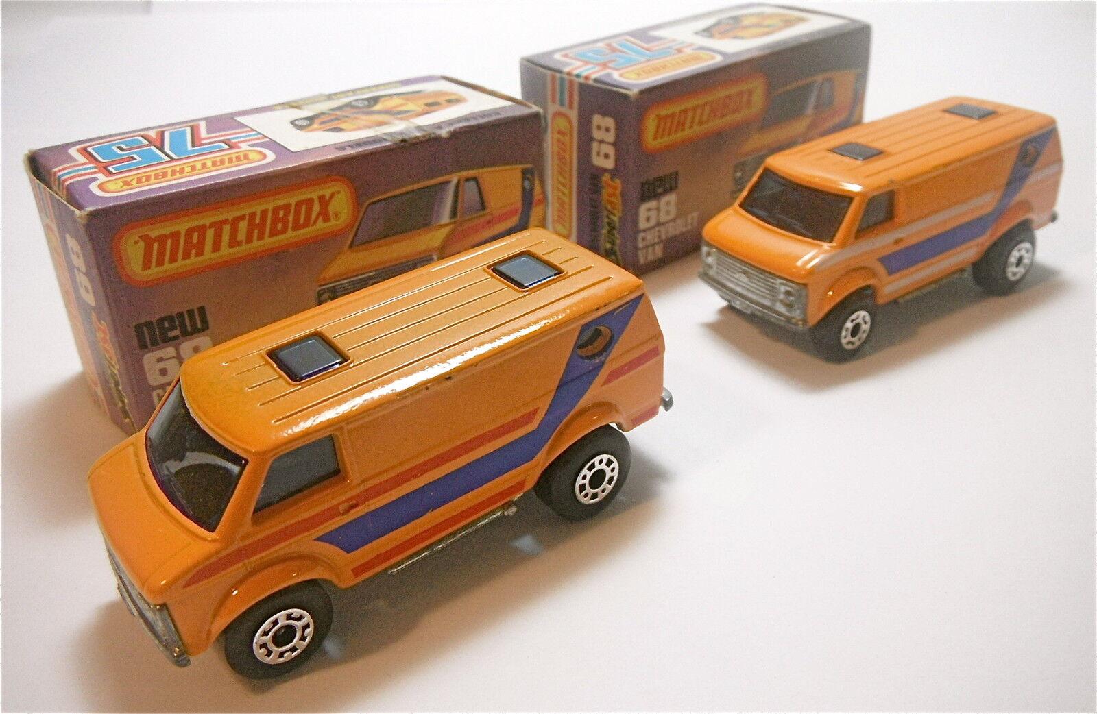 diseño simple y generoso 2 Vintage Vintage Vintage 1979 Matchbox Lesney Chevrolet Van   68 diferentes variaciones Nuevo En Caja  gran selección y entrega rápida