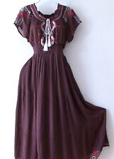 NEW~Long Brown White Red Embroidery Peasant Empire Maxi Boho Dress~12/14/L/Large