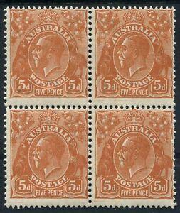 Australia-1926-30-SG-103a-5d-Orange-Brown-Perf-13-x12-block-of-4