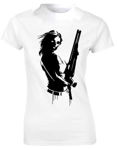 Girl With Gun Death Stencil Silhouette Design Art Ladies Tshirt Tee Top AD11
