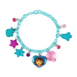 Dora The Explorer Charm Bracelet Beaded Heart Dora Charm Nick Jr Nickelodeon NWT