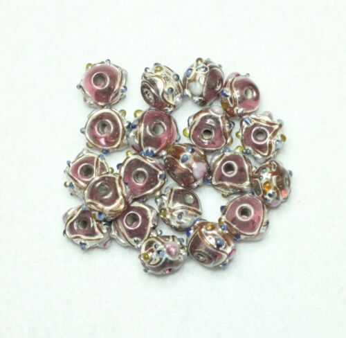 20 INDIAN FANCY LAMPWORK BEADS PINK 8mm ROUND BBB517