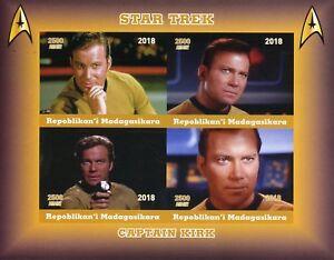 Madagascar 2018 MNH Star Trek Captain Kirk William Shatner 4v Impf M/S Stamps