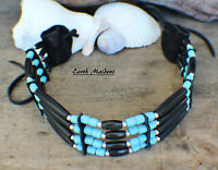 Native Choker W/ Black Horn & Blue Glass William Lattie Cherokee Cert Of Auth