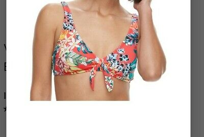 Apt 9 Women/'s Size S M L XL Black Multi Tropical Print Flouncy Halter Bikini Top