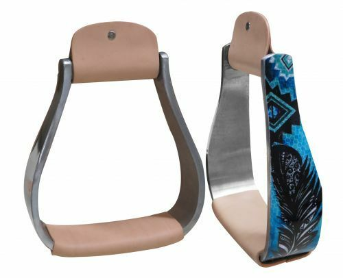 """Aluminum Barrel Racing Show Holographic Turquoise Feather Saddle Stirrups 3""""neck"""