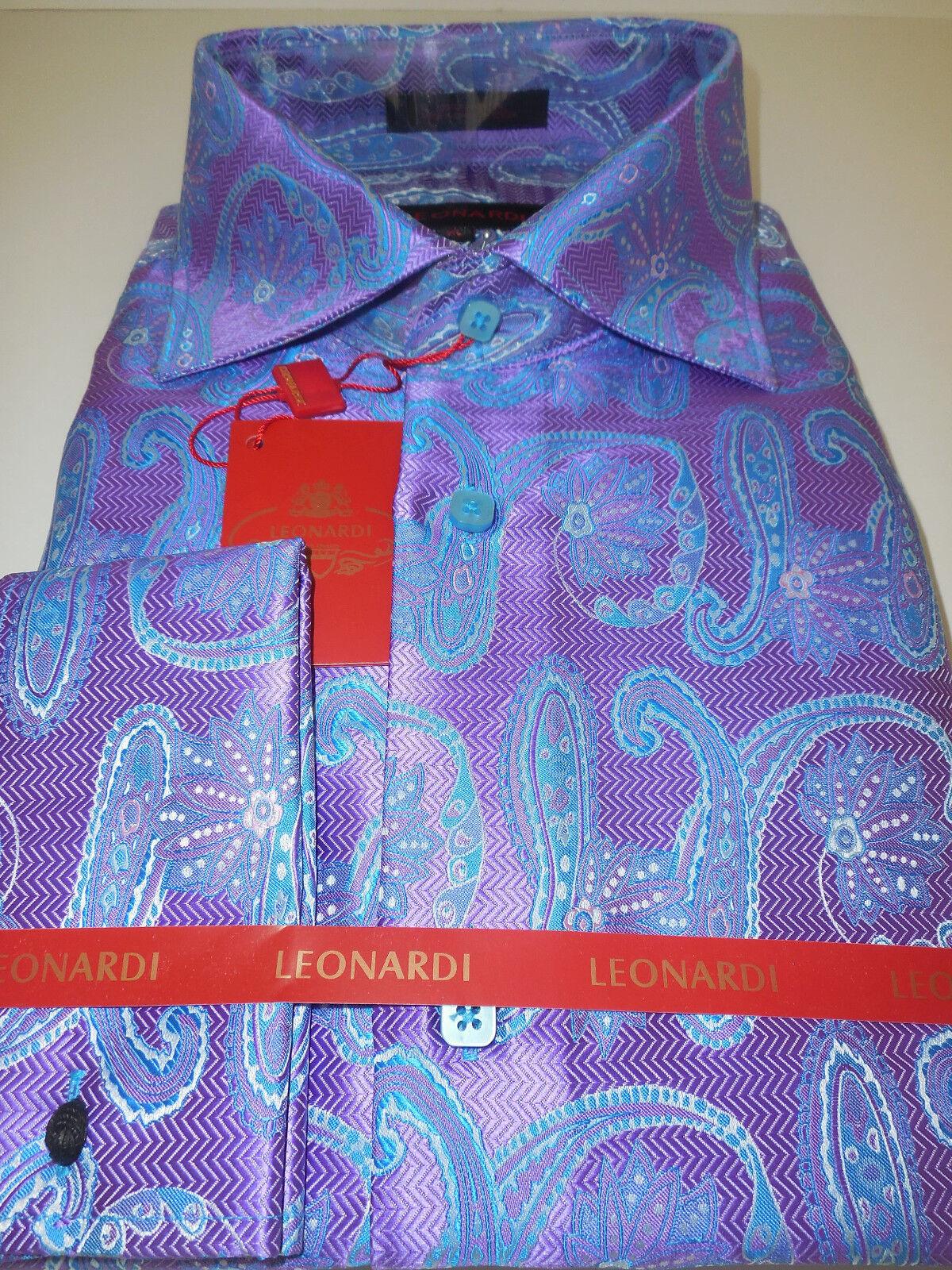 Mens Leonardi 389 Lavender Periwinkle Paisley High Collar Shirt sizes XL 2XL