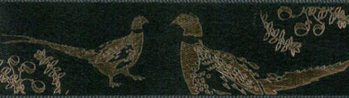 Pheasant on Black Satin Ribbon Berisfords  25mm 4 Gold or Silver Shades 14586