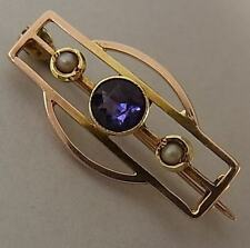 ANTIQUE ARTS & CRAFTS 15CT ROSE GOLD, AMETHYST & PEARL BROOCH