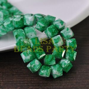 New-10pcs-10mm-Cube-Square-Faceted-Glass-Loose-Spacer-Colorful-Beads-Green