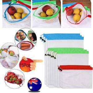 68416700a5c4 Details about 15x Eco Friendly Reusable Mesh Produce Bags Superior  Double-Stitched Strength AU