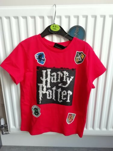 Boys Red Harry Potter T Shirt With Reversible Sequins 4-5 Years Brand New...