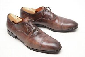 Santoni-Mens-Dress-Shoes-8-5-D-Brown-Leather-Cap-Toe-Oxford-Italy-Balmoral