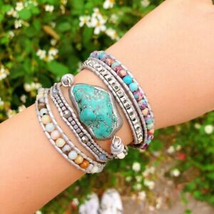 Women-Wrap-Leather-Boho-Bracelet-Natural-Stone-Turquoise-Charm-Silver-Color-Bead