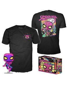 Funko Pop Spider-Man #652 Marvel Black Light POP & XXL T-Shirt Bundle Sealed