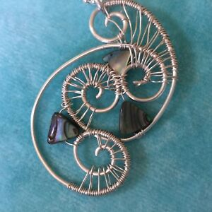 Abalone shell silver wire woven handmade pendant by Jewels in Harmony on a chain - Northwich, United Kingdom - Abalone shell silver wire woven handmade pendant by Jewels in Harmony on a chain - Northwich, United Kingdom