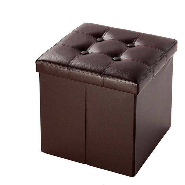 Foldable Faux Leather Storage Ottoman Square Cube Foot Rest Stool Seat 15 X