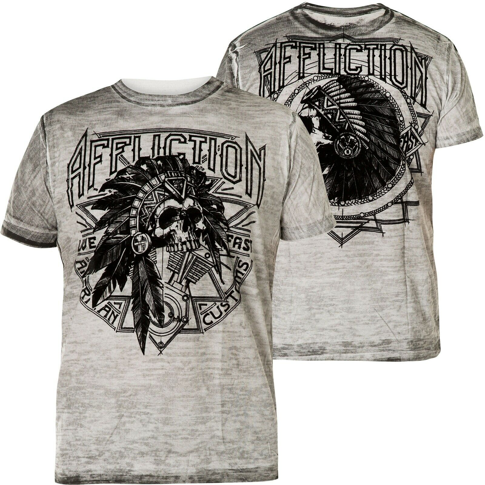AFFLICTION T-Shirt Sketch Tribe Weiß T-Shirts