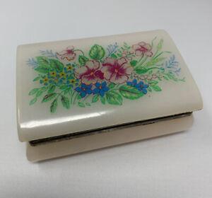 Vintage Pink Floral Hard Plastic Hinged Jewelry Box Hair Pin Sewing Pin Storage