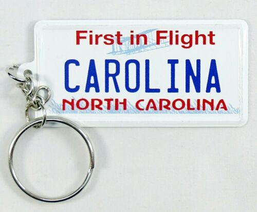 "North Carolina License Plate Aluminum Ultra-Slim Souvenir Keychain 2.5/""x1.25/"""