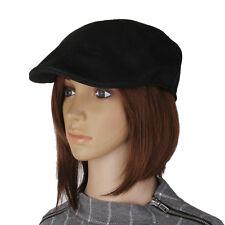 Men Women Herringbone Flat Cap Peaked Racing Hat Beret Golf Newsboy In Black