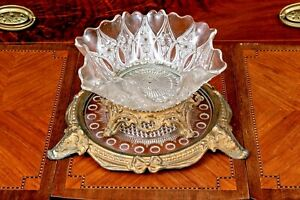 Antique-French-Gilt-Metal-Mounted-Pressed-Glass-Centerpiece-On-Stand