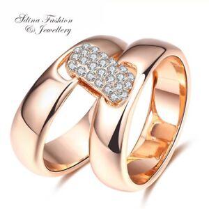 18K-Rose-Gold-Filled-Simulated-Diamond-Stylish-Fashion-Double-Joining-Ring-Set