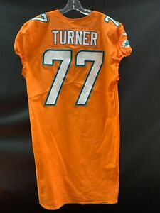 #77 BILLY TURNER MIAMI DOLPHINS GAME USED TEAM ISSUED ORANGE COLOR RUSH JERSEY