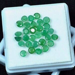 8-20-Cts-30-Pcs-Untreated-Natural-Zambian-Emerald-Round-Cut-Gemstones-Parcel