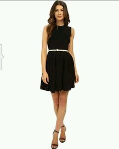 fde9d0be5 NWOT Ted Baker Alicii Bow Belt Knit Fit   Flare Dress Black (2 US 6 ...