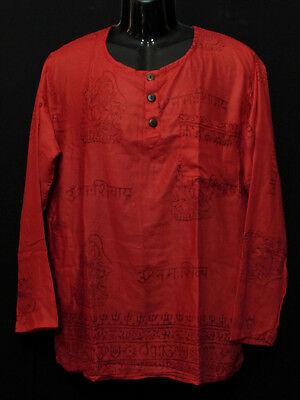 Sh991 XL Handloom Cotton short sleeve Grandad Hippy Men Maroon Kurta Shirt Nepal