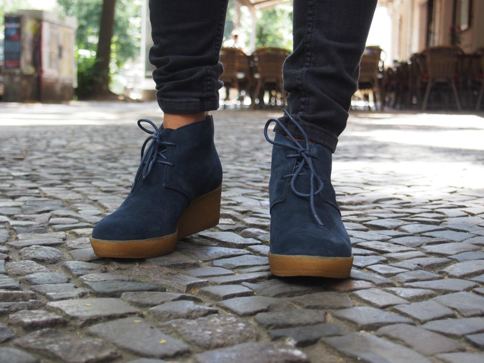 Clarks Schuhe Originals ATHIE TERRA navy navy navy dunkel blau Echtleder Ankle Stiefel NEU 378026
