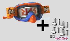 Rip N Roll Híbrido completamente cargado Motocross Raza Gafas-Azul/Naranja + rollo de película